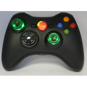 Black Lighted  Guide and Thumbstick Modded Controlle  w/Rapid Fire